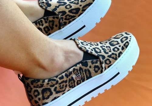 Leopard printed slip on shoes